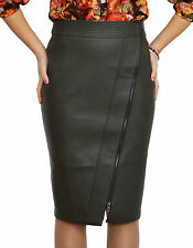 Office Hot Work Lined Pencil Bodycon Faux Leather Brown Skirt 8 10 12 14 16 18
