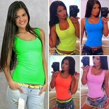 New Fashion Women Sleeveless Tank Tops Pure Color Basic Slim Casual Sports Tops
