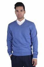 Pierre Balmain Light Blue Wool Cashmere V-Neck Pullover Sweater Sz M L XL 2XL