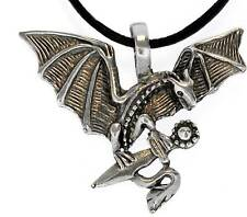MEDIEVAL DRAGON Silver Pewter Pendant Leather Necklace
