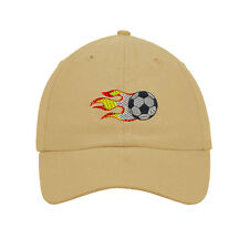 Flame Soccer Ball Embroidered SOFT Unstructured Adjustable Hat Cap
