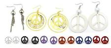 New Peace Sign Symbol Stud Dangle Earrings Gold Silver Rhinestone Acrylic 9style