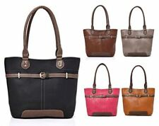 NEW LADIES FAUX LEATHER GOLD BUCKLE FRONT EVERYDAY TOTE HANDBAG