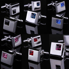 Hot Fashion Men Wedding Business Silver Stainless Steel Shirt Crystal Cufflinks