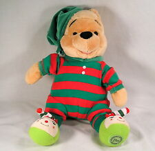 Disney Store Plush, Christmas Striped Pajama's Winnie The Pooh Stuffed Plush