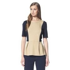 NEW! 3.1 Phillip Lim Target Colorblock Pointe Peplum Top Blouse Tan Navy  L XL