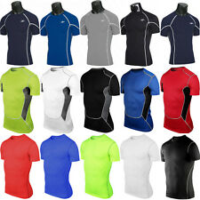 Mens Sports Compression Baselayer Short Sleeve Skin Top Tight Fitness Gym Shirts