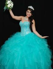 New Blue Quinceanera Dresses Beaded Ruffles Tiers Pretty Pageant Wedding Dresses