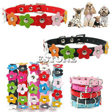 Pet Small Dog Cat Neck Strap Flower Studded Collar Candy Color PU Leather Buckle