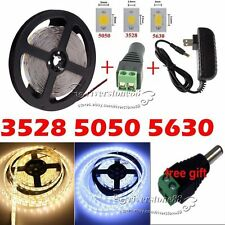 5M 300Led 3528/5050/5630 SMD White LED Flexible Strip Light / Adapter/DC Kit New