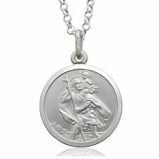 925 Sterling Silver 18MM Saint St Christopher Pendant & Chain Necklace