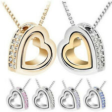 Heart Jewelry Womens Chain Crystal Silver Plated Fashion Necklace 2016 Pendant
