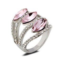 18K White Gold Plated Pink Crystal Ring Elegant Jewelry CZ Rhinestone Women Gift