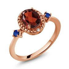 1.31 Ct Oval Red Garnet Blue Simulated Sapphire 18K Rose Gold Plated Silver Ring