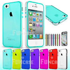 Jelly Gel Glossy Clear Colorful Soft Protective Case Cover for Apple iPhone 4/4S