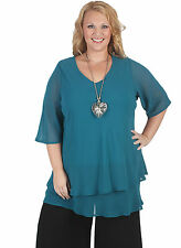 New Plus Size V Neck Teal Double Chiffon Elbow Sleeve Top 18 - 28 Curvaceous