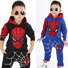 Toddler Kids Boys Super Hero Spider Man Hooded Sweatshirt +Pants Outfits Clothes