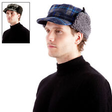 Men's Checked Trapper Hat With Peak Chunky Fleece Fold Down Ear Flaps Blue Black