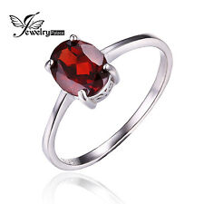 1.6ct Genuine Garnet Solitaire Ring Solid 925 Sterling Silver For Women Oval