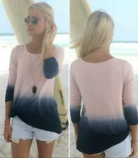 Gradient Color Long Sleeve Top Patchwork Beautiful Blouse Round Collar