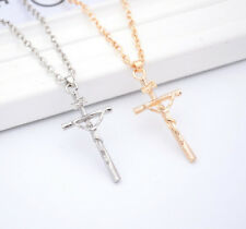 1 Pc Crucifix Christ NEW Jewelry Necklace Jesus Pendant Silver Chain Cross