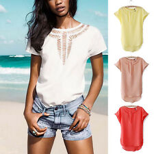 Women Lady Short Sleeve Plain Hollow Chiffon Hem T-Shirts Shirt Tank Blouses Top