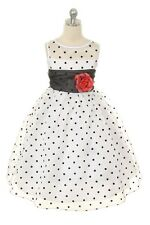 Girls Organza Polka Dot Special Occasion Dress Wedding Party Graduation