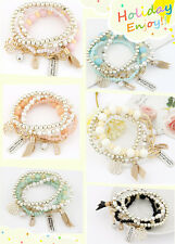 Women Jewelry Charm Pearl Multilayer Bracelet Mix Pendant Bangle Student Party