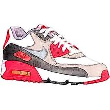 Nike Air Max 90 - Boys' Primary Sch. Running Shoes (WT/Medium GY/Infrared/Cool