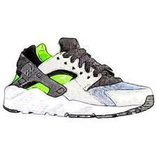 Nike Huarache Run - Boys' Primary Sch. Running Shoes (Wolf GY/Electric GN/WT/BK)