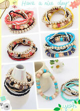 Hot Women Colour Beads Pearl Mix Bracelet Bangle Multilayer Jewelry Holiday Hot