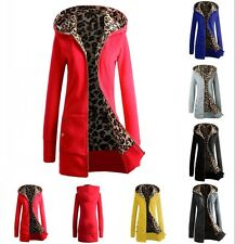 Women Leopard Fleece Hoodie Cardigan Coat Outwear Zip Up Sweatshirt Jacket Parka