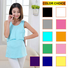 Maternity Pregnant Clothes Nursing Tops Breastfeeding Vest T-Shirt for Womens