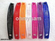 """7 NEW MULTI COLOR PLASTIC BANANA HAIR CLIPS /COMB / CLAW  6  """"LONG"""