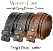 "BS 118 - WESTERN FLORAL ENGRAVED TOOLED LEATHER BELT STRAP 1-1/2"" WIDE NEW"