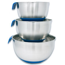 HUJI 3 Piece Stainless Steel Mixing Bowls set with Pouring Spouts