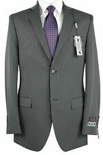 Paolo Giardini Mens Slim Fit Suit 2 Button 2 Vent Flat Front Pinstripes 120 Grey