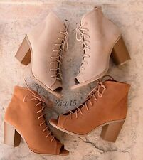 Women's Lace Up Chunky Heel Open Toe High Heel Ankle Boots Shoes New Faux Suede