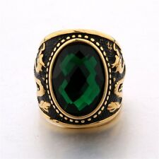 MODOU Cool Men's Gold Tone Dragon Oval Cut Emerald Stainless Steel Ring Sz 8-12