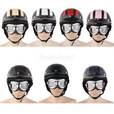 Motorcycle Cruiser Half Open Face Leather Helmet Sun Visor Vintage Retro Goggles