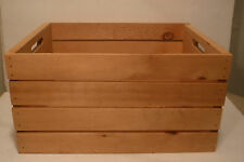 Clean Wood Shipping Crate Box Storage Container Decor Record Holder Cut Handles