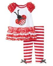 Rare Editions Baby-Infant Red Lace Dress Ladybug /Legging Set 12 18 24 Months