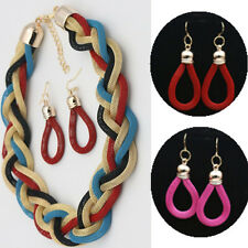 Metal Beads Fashion Jewelry Sets Earrings Necklace Retro Exaggerated Braided