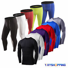 Men's Compression Base Layer Long Sleeve Tops Tee Shirt Legging Pants Sportswear