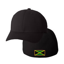 JAMAICA FLAG Embroidery Embroidered Black Cotton Flexfit Hat Cap