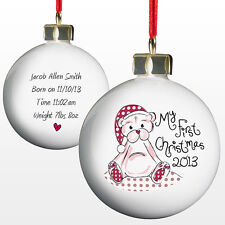 Personalised Christmas Tree Baubles Baby's My First 1st Present Great Gift Ideas