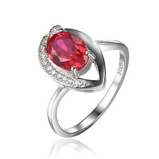 Women 1.5ct Pigeon Blood Red Ruby Ring Solid 925 Sterling Silver Oval On Sale