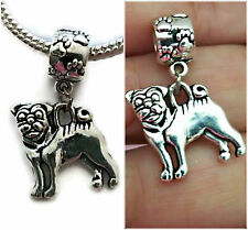 Pug silver Dog charm pendant for All Bracelets necklace/Pug Charms/Pug necklace