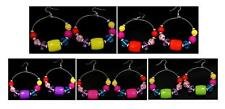 New Stunning Multi Color Lucite Beaded Silver Tone Hoop Earrings 5 Color