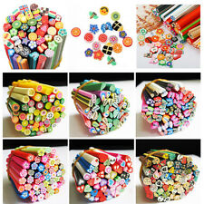 Beauty 50pcs 3D Nail Art Fimo Canes Stick Rods Polymer Clay Stickers Decor DIY